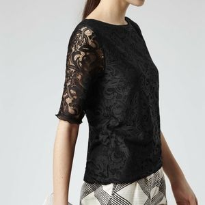 REISS Black Lace Jersey Short Sleeve Della Top